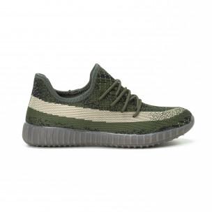 Ултра модерни мъжки маратонки зелено-черен текстил