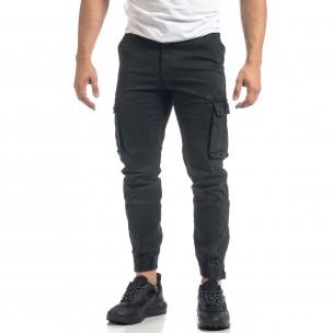 Сив мъжки карго панталон с ципове на крачолите