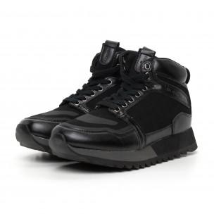 Мъжки високи спортни обувки в черно 2