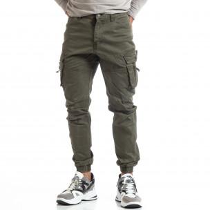 Зелен мъжки панталон с ципове на джобовете  2
