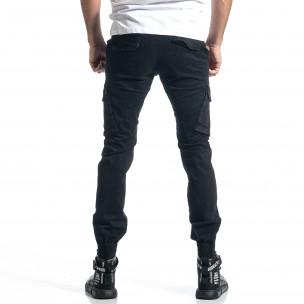 Черен панталон Cargo Jogger с ципове на крачолите  2