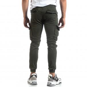Зелен мъжки карго панталон с ластични маншети  2