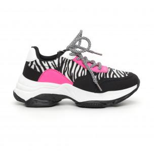 Дамски цветни маратонки зебра мотив