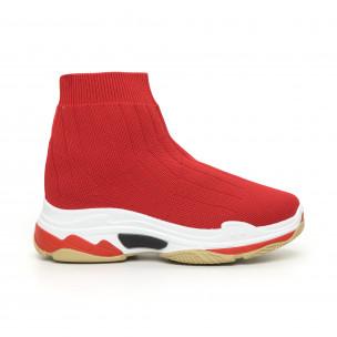 Дамски плетени Slip-on маратонки в червено