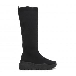 Дамски черни ботуши тип чорап