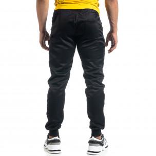 Черен мъжки джогър с принт кант Black Sport  2