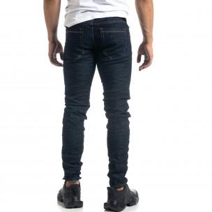 Тъмносини мъжки намачкани дънки Slim fit 2