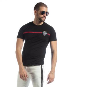 Мъжка черна тениска с кант и бродерия