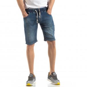 Къси мъжки дънкови шорти в синьо
