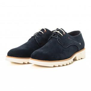 Casual мъжки обувки в син велур  2
