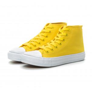 Basic дамски жълти високи кецове  2