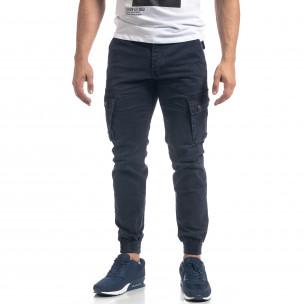 Мъжки син панталон с карго джобове  2
