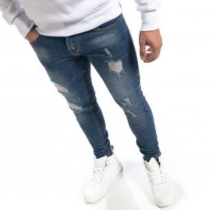 Сини мъжки Slim fit дънки с прокъсвания