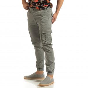 Мъжки карго джогър панталон в сиво