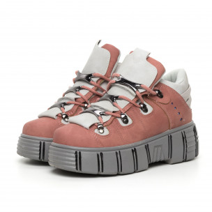 Дамски розови боти на платформа Trekking design 2