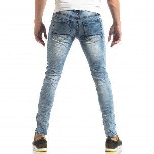 Мъжки Washed Slim Jeans в синьо 2