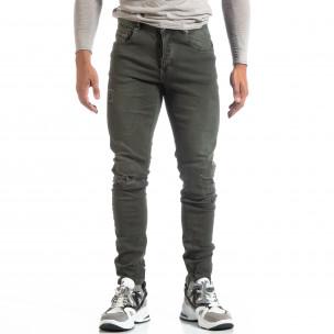 Slim fit мъжки зелени дънки с прокъсвания  2