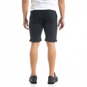 Мъжки трикотажни шорти черен меланж 2