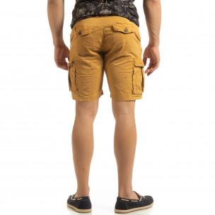 Къси карго панталони в камел с детайл  2