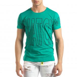 Зелена мъжка тениска принт Watch