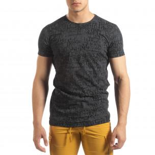 Vintage мъжка тениска в цвят графит