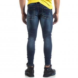 Skinny мъжки сини дънки с прокъсвания  2