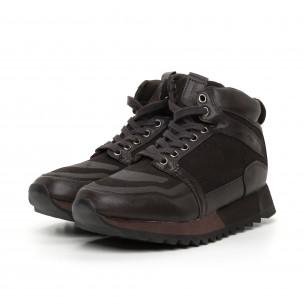 Мъжки високи спортни обувки в кафяво  2