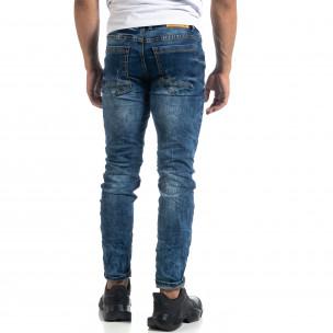 Washed мъжки сини дънки Slim fit 2