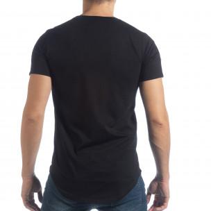 Черна мъжка тениска с апликации  2
