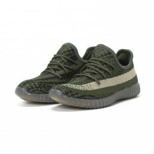 Ултра модерни мъжки маратонки зелено-черен текстил  2