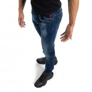 Изтъркани мъжки сини дънки с прокъсвания Slim fit 2