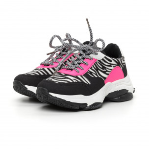 Дамски цветни маратонки зебра мотив 2