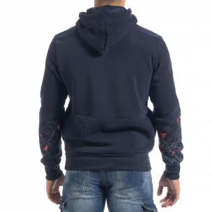 Син мъжки суичър hoodie с принт  2