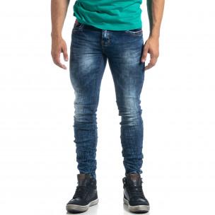 Washed мъжки намачкани сини дънки Slim fit  2
