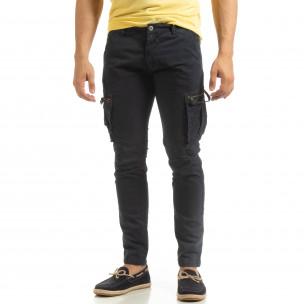 Син мъжки карго панталон с прави крачоли 2
