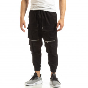 Cropped мъжки черен панталон с джобове