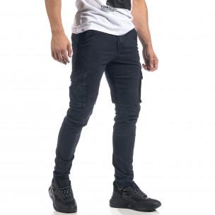 Син мъжки карго панталон с прави крачоли