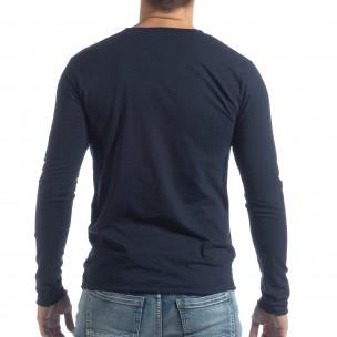 Мъжка блуза V-neck в тъмно синьо  2