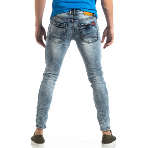 Намачкани Washed Slim Jeans в синьо  2