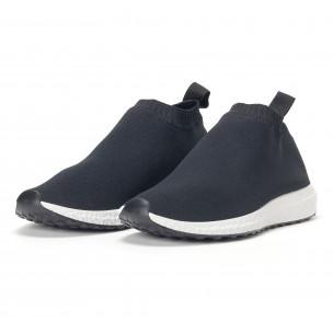 Мъжки slip-on маратонки тип чорап в черно  2