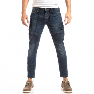 Рокерски мъжки Cargo Jeans в синьо  2