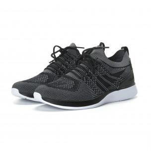 Меки мъжки маратонки плетени в сиво-черно  2