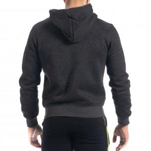 Мъжки суичър California с цип черен меланж  2