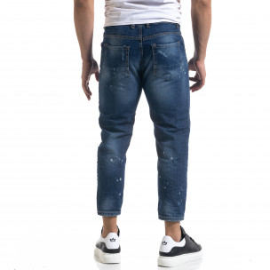 Мъжки сини дънки Cropped Carrot с акценти  2