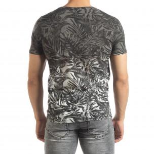 Мъжка сива тениска с преливане Leaves мотив  2