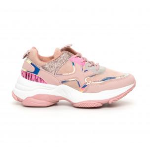 Chunky дамски розови маратонки с акценти MIX