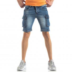 Карго къси мъжки дънки в синьо  2