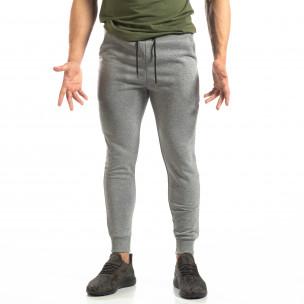 Basic мъжко памучно долнище в сиво  2