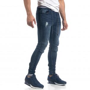 Мъжки сини дънки с ластичен колан Skinny fit  2