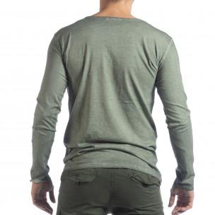 Мъжка блуза Vintage стил в зелено  2